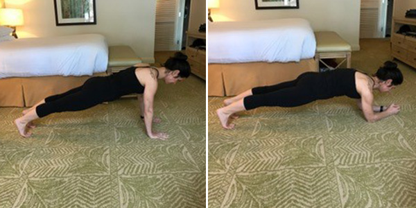 woman doing high low plank