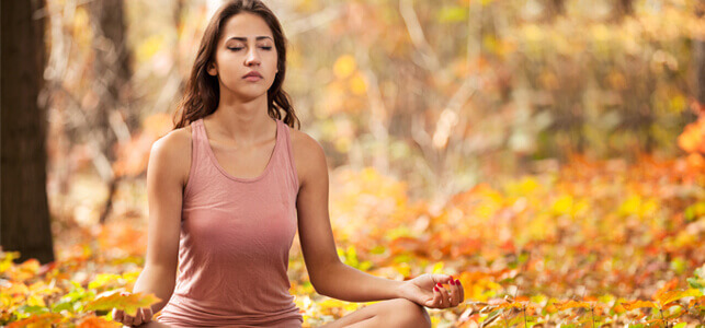 Young woman in silent meditation