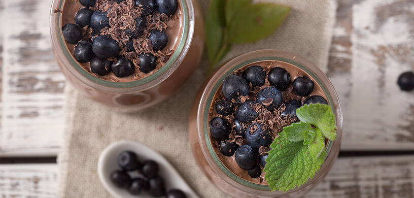 healthy dessert with blueberries