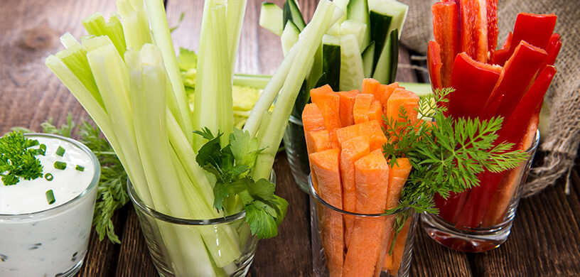 vegetable stick snacks with dip