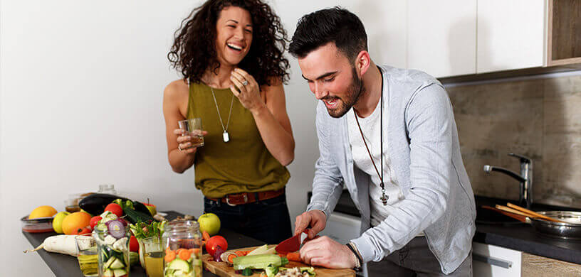 couple prepping food