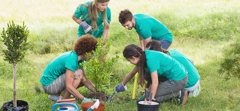 group of young people helping the environment