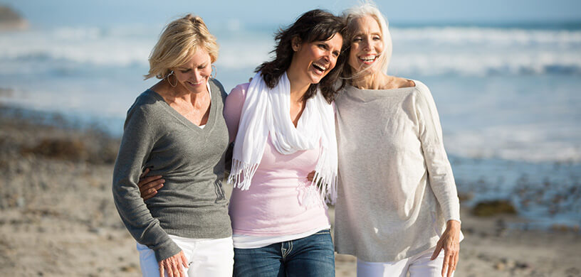 women walking on the beach with friends