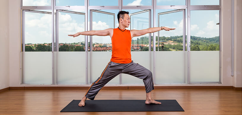 Yoga practitioner performing Warrior 2 pose