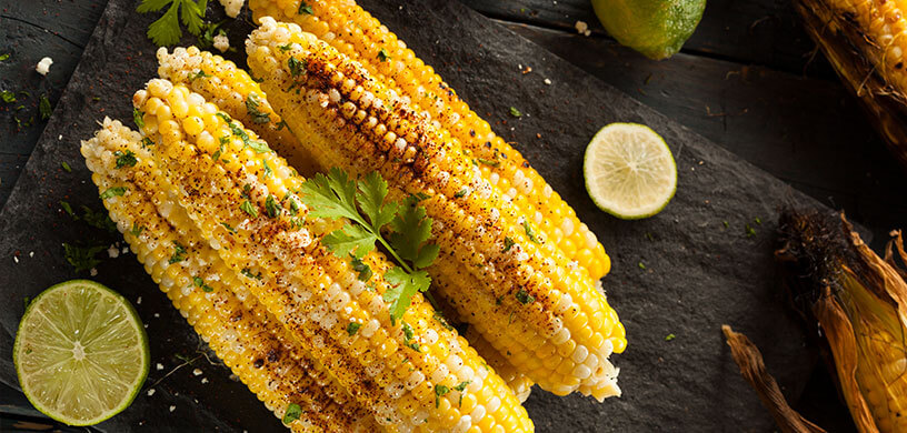 Grilled chile lime corn on the cob