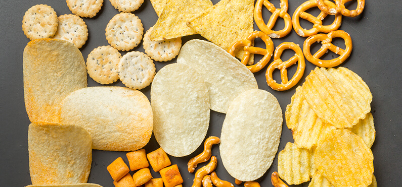 salted snacks chips and pretzels