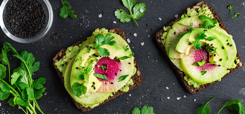 avocado and watermelon radish toast