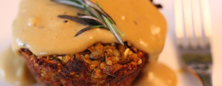 Nut Loaf and Sweet Potato Tower with Tarragon Gravy